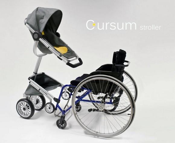 輪椅族專用的嬰兒推車